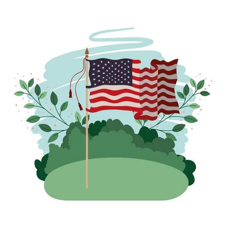 united states flag in landscape icon vector illustration design