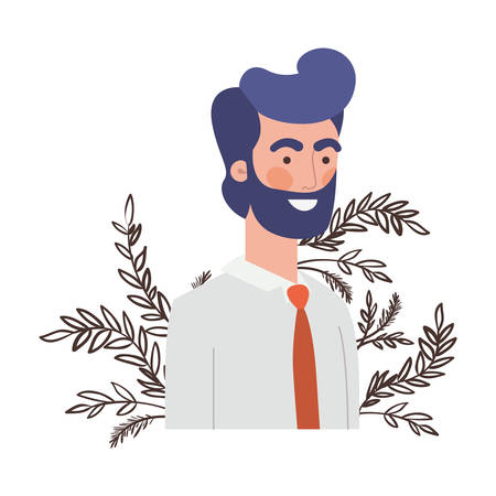 young man with branch with leaf character vector illustration design Stock Illustratie