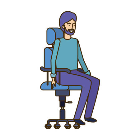 man with sitting in office chair avatar character vector illustration design Banque d'images - 129578866