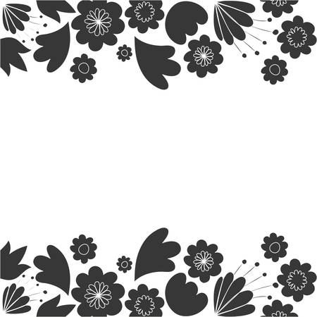 frame with flowers and leafs icon vector illustration design Banque d'images - 129578867