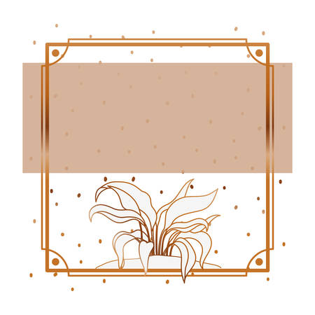 pattern plant with frame golden isolated icon vector illustration design Banque d'images - 129578874