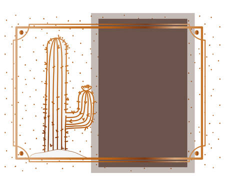 pattern cactus with frame golden isolated icon vector illustration design 일러스트