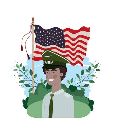 man soldier of war with landscape and united states flag vector illustration design Ilustración de vector