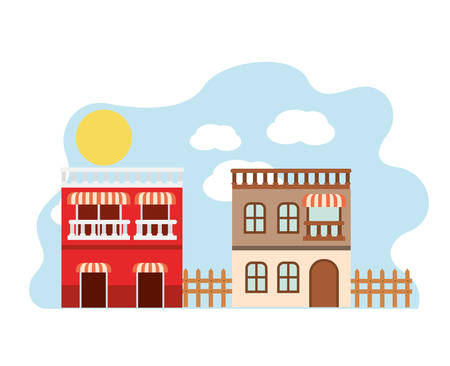 neighborhood houses in landscape isolated icon vector illustration design Stock Illustratie