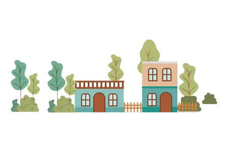 neighborhood houses in landscape isolated icon vector illustration design Иллюстрация