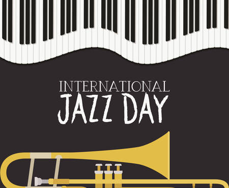 jazz day poster with piano keyboard and trumpet vector illustration design Banque d'images - 129495515