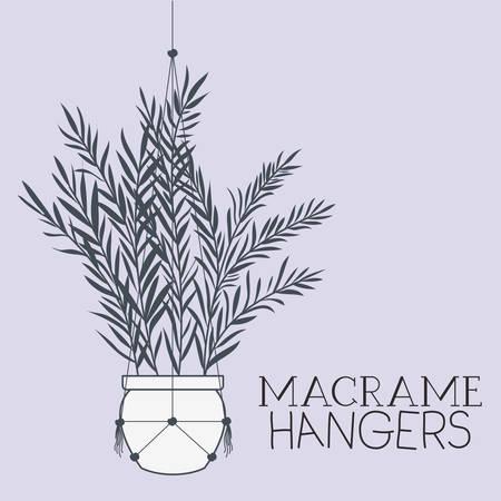 houseplant in macrame hangers vector illustration design