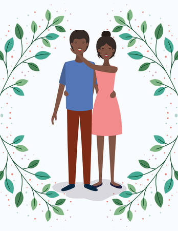black lovers couple with leafs crown characters vector illustration design