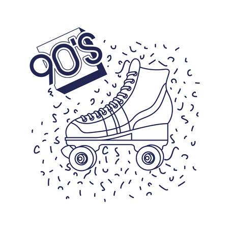 skate rollers ninetys icon vector illustration design Illustration