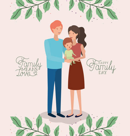 family day card with parents and son leafs crown vector illustration design