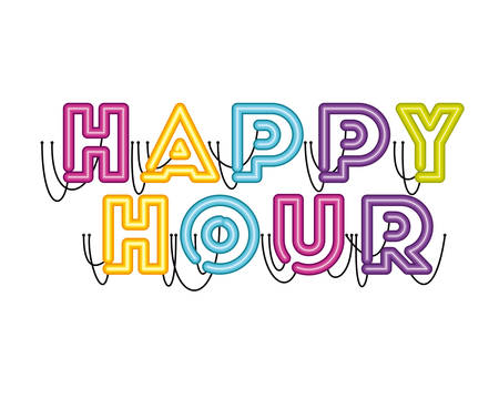 happy hour label in neon light icon vector illustration design Stok Fotoğraf - 129496549