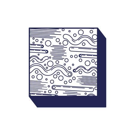 square geometric figure with ninetys pattern vector illustration design Archivio Fotografico - 129496580