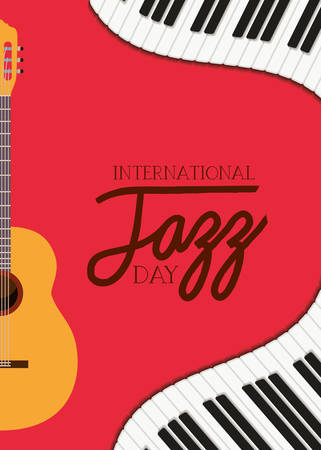 jazz day poster with piano keyboard and acoustic guitar vector illustration design Foto de archivo - 129594554