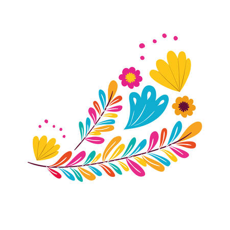 colorful flower with leafs isolated icon vector illustration design