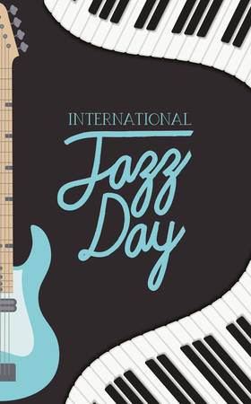 jazz day poster with piano keyboard and electric guitar vector illustration design Stock Vector - 129594626