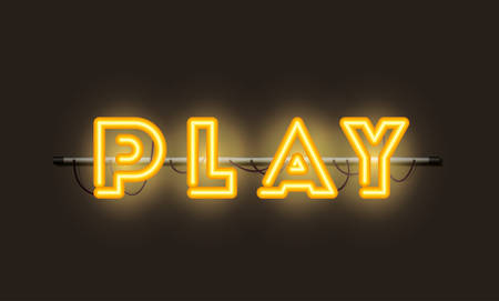 play fonts neon lights vector illustration design Stok Fotoğraf - 129496548