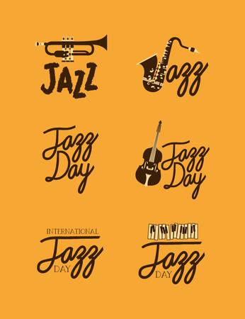 jazz day poster set of templates vector illustration design Foto de archivo - 129594710