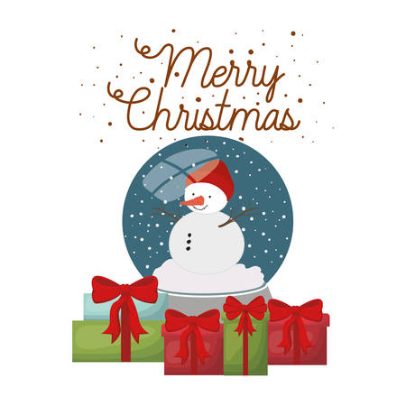 snowman with gifts and crystal ball isolated icon vector illustration design