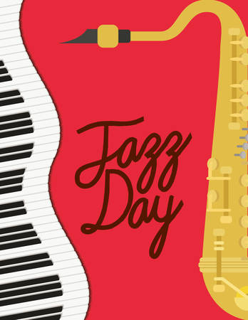 jazz day poster with piano keyboard and saxophone vector illustration design Foto de archivo - 129640262