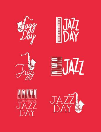 jazz day poster set of templates vector illustration design Foto de archivo - 129640269