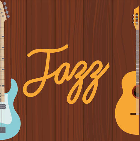 music electric guitar in frame with wooden background vector illustration design
