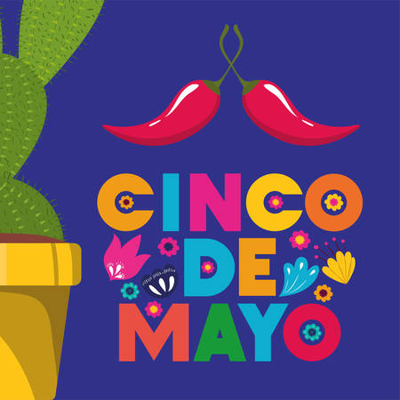 cinco de mayo card with cactus and chili pepper vector illustration design  イラスト・ベクター素材