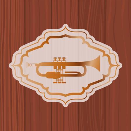 music trumpet in frame with wooden background vector illustration design Banque d'images - 129527102