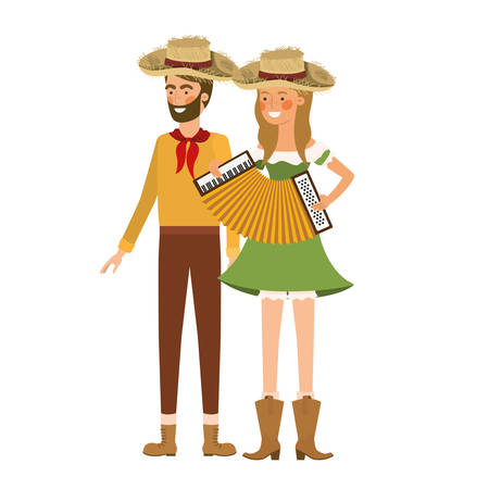 farmers couple with musical instrument vector illustration design