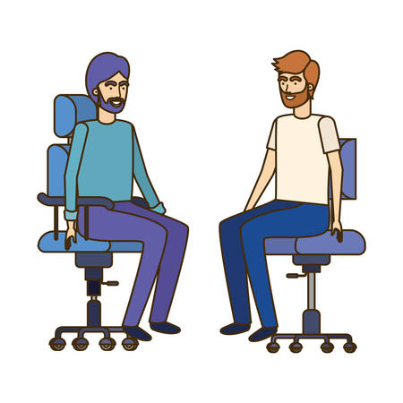 men with sitting in office chair avatar character vector illustration design