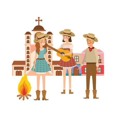 group of people farmers talking with background houses vector illustration design