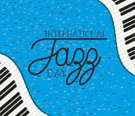 jazz day poster with piano keyboard vector illustration design Banque d'images - 129527724