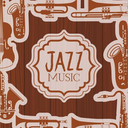 jazz day frame with instruments and wooden background vector illustration design Banque d'images - 129527691