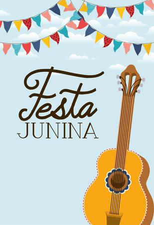 festa junina with guitar instrument vector illustration design Illusztráció