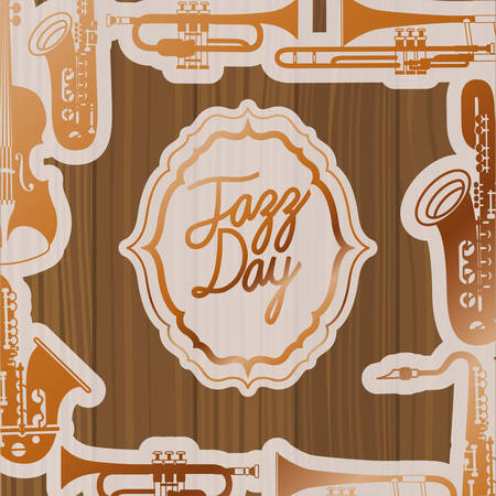 jazz day frame with instruments and wooden background vector illustration design Banque d'images - 129527750