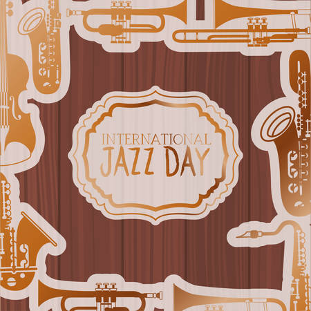 jazz day frame with instruments and wooden background vector illustration design Ilustração