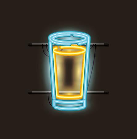 beer glass neon light vector illustration design 向量圖像
