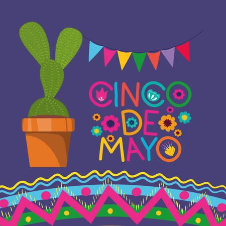 cinco de mayo card with cactus and garlands vector illustration design