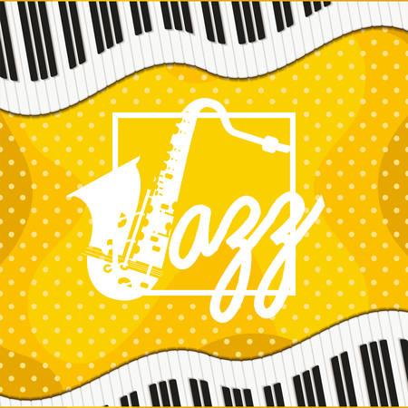 jazz day poster with piano keyboard and saxophone vector illustration design Ilustração