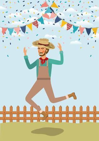 jeune agriculteur célébrant avec des guirlandes et conception d'illustration vectorielle de clôture