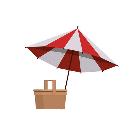 beach umbrella for summer striped icon vector illustration design Ilustração