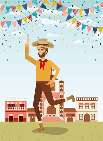young farmer celebrating with garlands and cityscape vector illustration design Banque d'images - 129511988