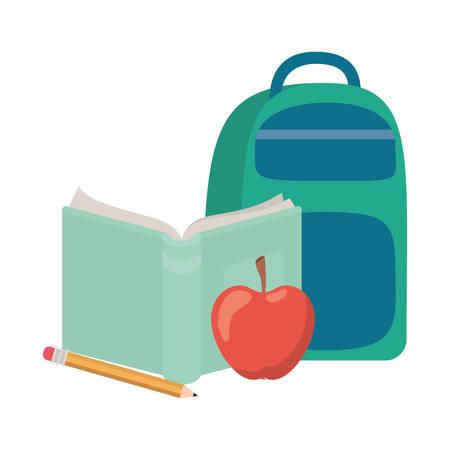 handbag school with notebook on white background vector illustration design