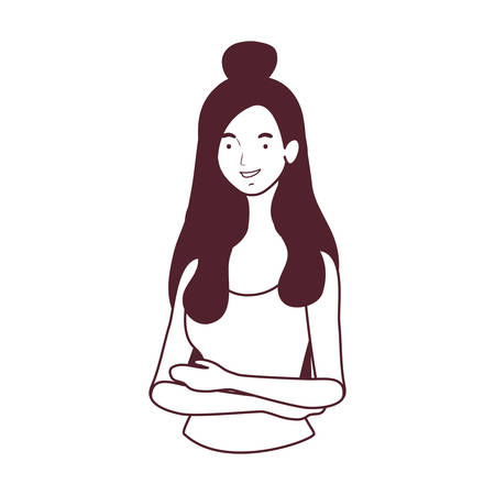 silhouette of young woman on white background vector illustration design