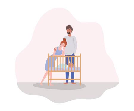 parents taking care of newborn baby with cradle vector illustration design Archivio Fotografico - 129528388