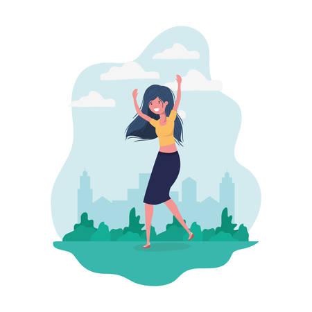 dancing woman in landscape of background vector illustration design