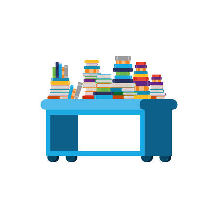 shelving with books in white background vector illustration desing
