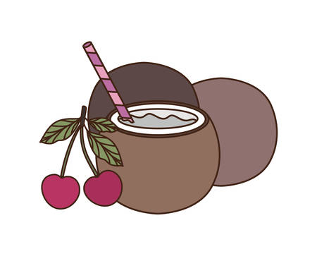 coconut water for summer heat on white background vector illustration design 写真素材 - 129531630