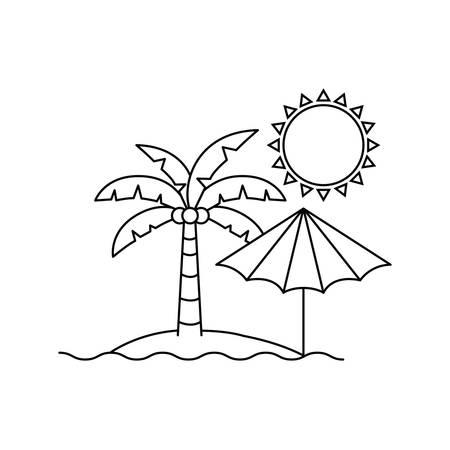 silhouette of palm tree with beach umbrella striped vector illustration design