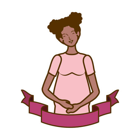 woman pregnant with decorative ribbon vector illustration design Archivio Fotografico - 129538034