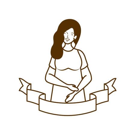 silhouette of woman pregnant with decorative ribbon vector illustration design Archivio Fotografico - 129538266
